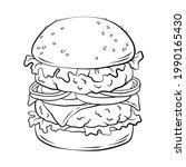 double hamburger. hand drawn... | Shutterstock .eps vector #1990165430