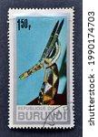 Small photo of Burundi - circa 1967 : Cancelled postage stamp printed by Burundi, that shows Dance mask of Kurumba-tribe, circa 1967.