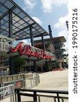 Small photo of Atlanta, GA, USA: June 12,2021-An entrance to Truist Stadium in Atlanta, Georgia. The stadium is a ballpark and the home field of Major League Baseball team of Atlanta Braves.