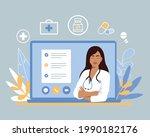 online doctor. virtual medicine....   Shutterstock .eps vector #1990182176