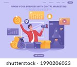 grow your business with social...   Shutterstock .eps vector #1990206023