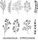 hand sketch vector flower...   Shutterstock .eps vector #1990214636