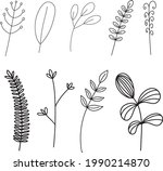 hand drawn flower and branches...   Shutterstock .eps vector #1990214870