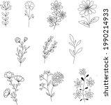 vector set of floral elements...   Shutterstock .eps vector #1990214933