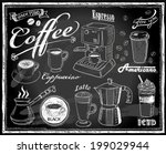 coffee collection on chalkboard | Shutterstock .eps vector #199029944
