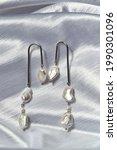 Pearly Dangle Earrings With...