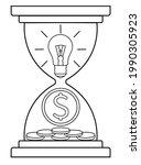 an hourglass with a light bulb... | Shutterstock .eps vector #1990305923