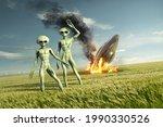 vintage flying saucer ufo crash ... | Shutterstock . vector #1990330526
