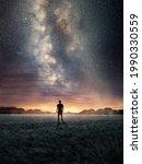 a man exploring the night sky... | Shutterstock . vector #1990330559