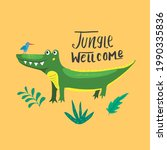 cute croccodile with jungle...   Shutterstock .eps vector #1990335836