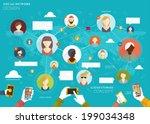 social network vector concept.... | Shutterstock .eps vector #199034348