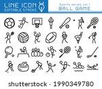 ball game vector icon set.... | Shutterstock .eps vector #1990349780