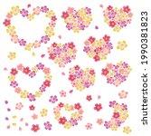 heart shaped cherry blossom... | Shutterstock .eps vector #1990381823