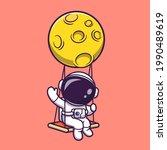 cute astronaut swing on moon... | Shutterstock .eps vector #1990489619