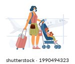 woman with child in baby... | Shutterstock .eps vector #1990494323
