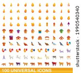 100 universal icons set.... | Shutterstock .eps vector #1990540340