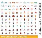 100 universal icons set.... | Shutterstock .eps vector #1990540343