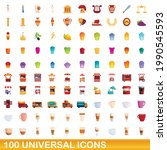 100 universal icons set.... | Shutterstock .eps vector #1990545593