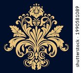 damask graphic ornament. floral ... | Shutterstock .eps vector #1990581089