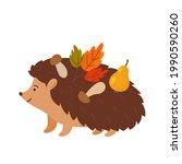 cute hedgehog character carries ... | Shutterstock .eps vector #1990590260