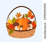 wicker basket with pumpkin ... | Shutterstock .eps vector #1990594490