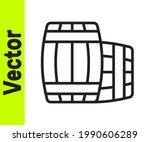 Black Line Wooden Barrel Icon...
