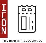black line cinema ticket icon...   Shutterstock .eps vector #1990609730