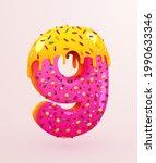 glazed donut font. number 9.... | Shutterstock .eps vector #1990633346