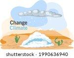 snow in desert. illustration of ... | Shutterstock .eps vector #1990636940