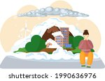 save planet with sad woman... | Shutterstock .eps vector #1990636976