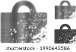 damaged luggage halftone dotted ... | Shutterstock .eps vector #1990642586