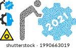 mosaic 2021 worker rolling gear ...   Shutterstock .eps vector #1990663019