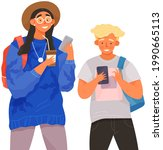 people with smartphones...   Shutterstock .eps vector #1990665113