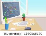 stocks market graph and chart... | Shutterstock .eps vector #1990665170