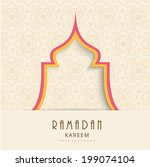 Stylish illustration of a mosque on seamless brown background for holy month of Muslim community Ramadan Kareem.