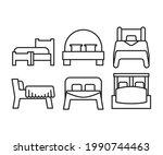 bed line icons set vector...   Shutterstock .eps vector #1990744463