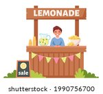 boy selling cold lemonade in... | Shutterstock .eps vector #1990756700