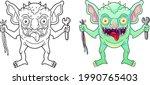 cartoon funny monster gremlin ... | Shutterstock .eps vector #1990765403