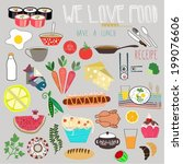set of naive flat food icons.... | Shutterstock .eps vector #199076606
