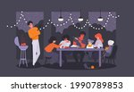 bbq dinner party at the evening ...   Shutterstock .eps vector #1990789853