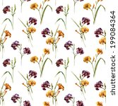 lily  watercolor  background | Shutterstock .eps vector #199084364