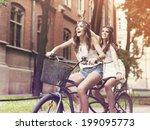 Happy Hippie Woman Riding A...