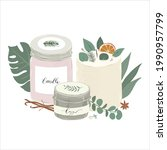 scented natural wax candles in... | Shutterstock .eps vector #1990957799