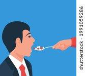 to eat pills. taking... | Shutterstock .eps vector #1991059286