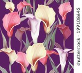 seamless calla lilly flower... | Shutterstock . vector #199108643