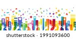 colorful books  children hands... | Shutterstock .eps vector #1991093600