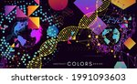 futuristic style horizontal... | Shutterstock .eps vector #1991093603