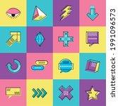 memphis eye triangle reload plus | Shutterstock .eps vector #1991096573