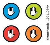 round cartoon warning or hand...