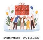 happy people holding big... | Shutterstock .eps vector #1991162339
